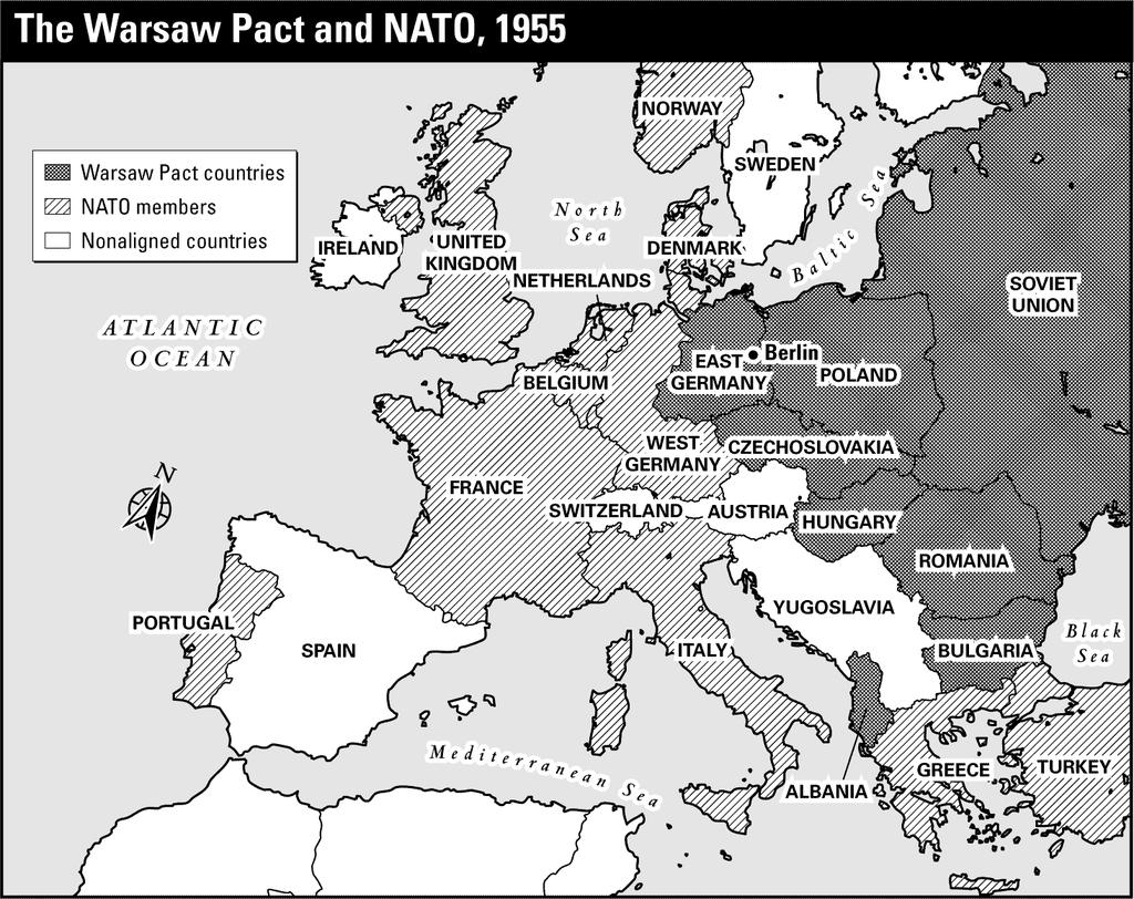 Using the exhibit, choose the letter of the best answer. (4 points each) 10. What was the northernmost NATO member shown on this map? A. Turkey B. Ireland C. Norway D. United Kingdom 11.
