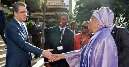 (Left) President Uhuru Kenyatta at the Opening Session of the Tenth Ministerial Conference. (Right) DG Azevêdo greets Kenya s President, Uhuru Kenyatta.