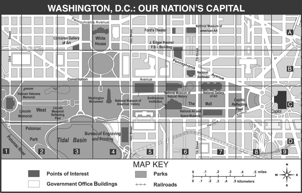: 5th Grade Social Studies Practice Use the map of Washington, D.C., below to answer question 6.