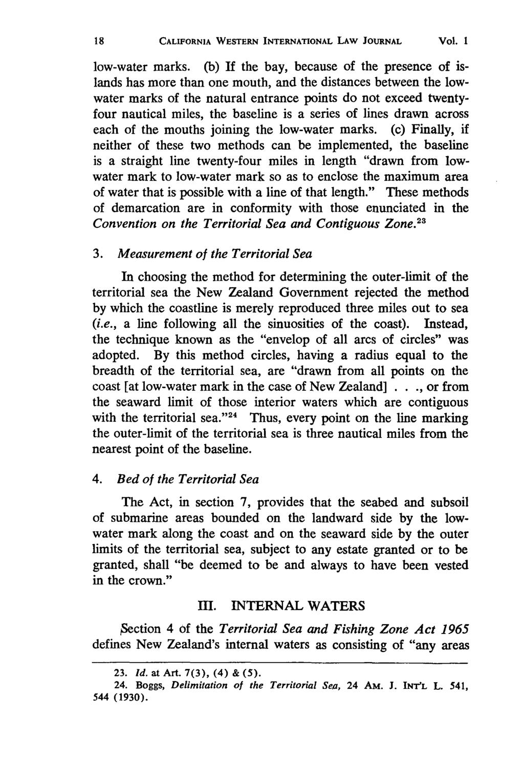 California Western International Law Journal, Vol. 1 [1970], No. 1, Art. 3 CALIFORNIA WESTERN INTERNATIONAL LAW JOURNAL Vol. I low-water marks.