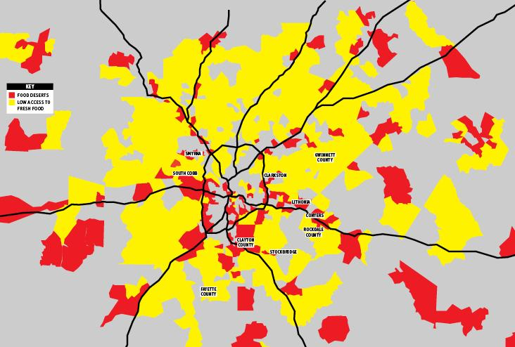 Atlanta s Food Desert Red=20 percent poverty rate and in which at least one third of residents live a mile from a grocery store.