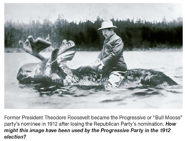 The Bull Moose Party The Progressive parties of Theodore Roosevelt and Robert La Follette split from the Republican Party.