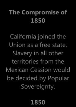 CW1.10 Chronology of States Rights Timeline (Part 2) The Compromise of 1850 California joined the Union as a free