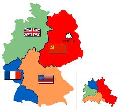 Partition of Germany US, Eng, Fr, USSR each got a part of Germany (and Berlin) to hold