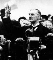 Failure of the League of Nations: Appeasement In May 1937, Neville Chamberlain became Prime Minister of Britain. He believed that the giving in to Hitler s demands would prevent another war.