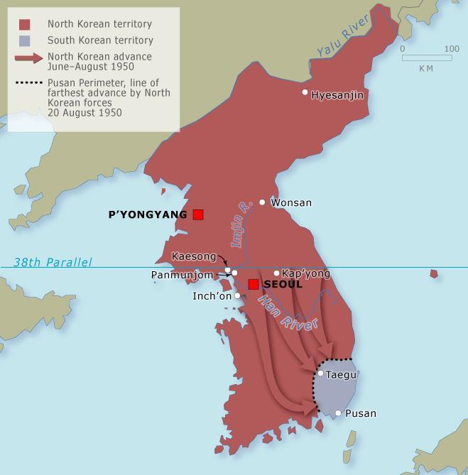 At first, the war was a defensive one a war to get the communists out of South Korea and it went badly for the Allies.