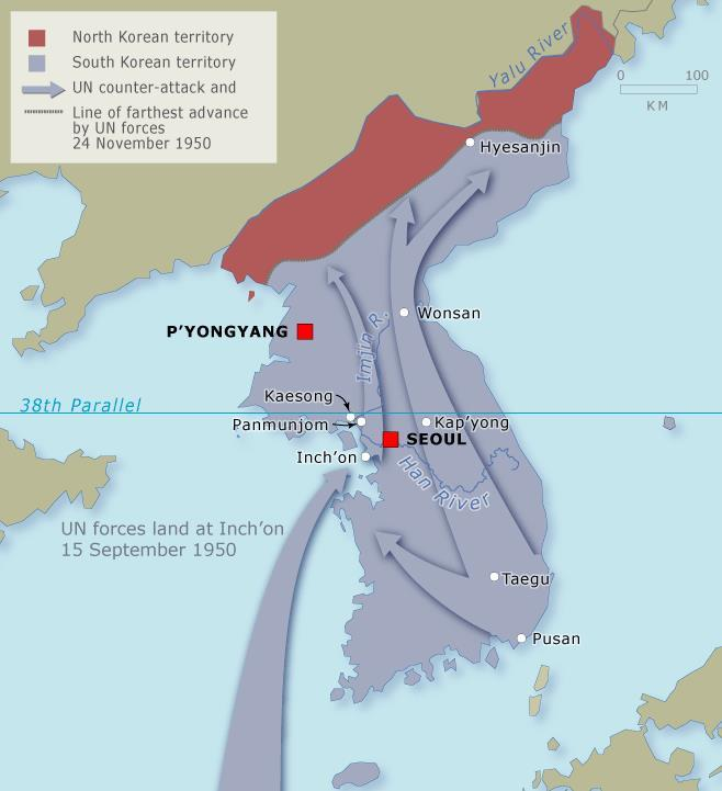 By September, the commander of the UN forces, Douglas MacArthur, went on the offensive with an amphibious landing at Inchon The communist-backed northern forces reeled in retreat.