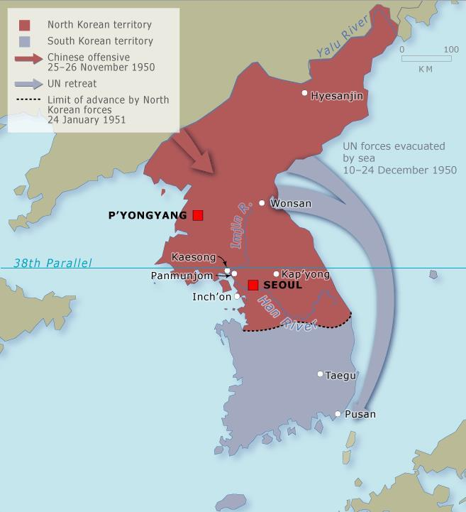 China had warned that if the UN invaded North Korea, they would get involved & on November 25 th, 1950 over 400,000 Chinese soldiers attacked across the Yalu