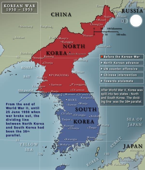 North Korea invades South Korea to unify the nation into a single communist nation.