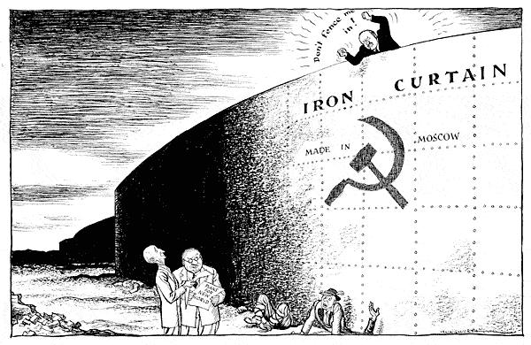 An Iron Curtain Descends (March, 1946) Stalin forced Communist revolutions in Bulgaria, Romania, Czechoslovakia, and Poland Stated that all satellite