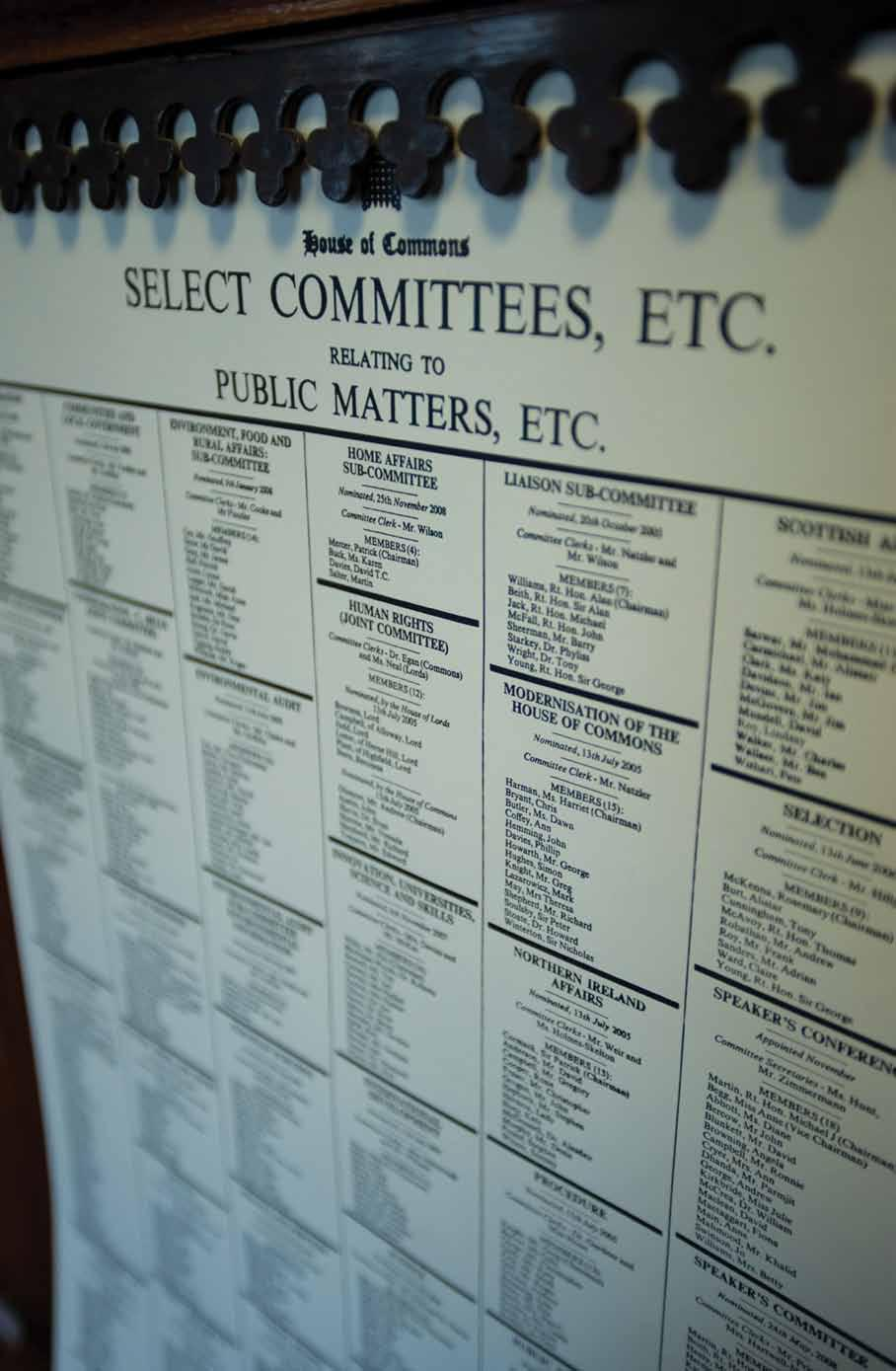 Select committees may sometimes be appointed on an ad hoc basis to examine, take evidence and report on some other matter such as reform of the House itself.