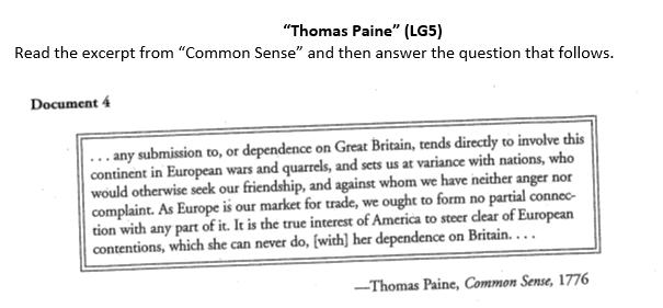 1. According to Thomas Paine, what are two problems that America will