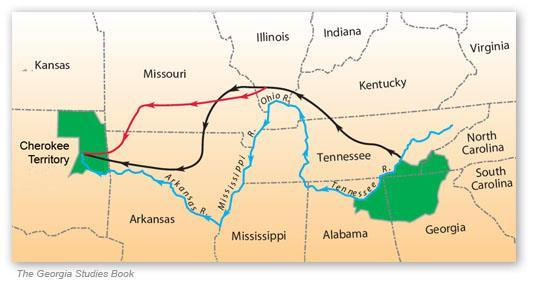 exhaustion on the deadly trek from 1830-1838 Known as the Trail of Tears