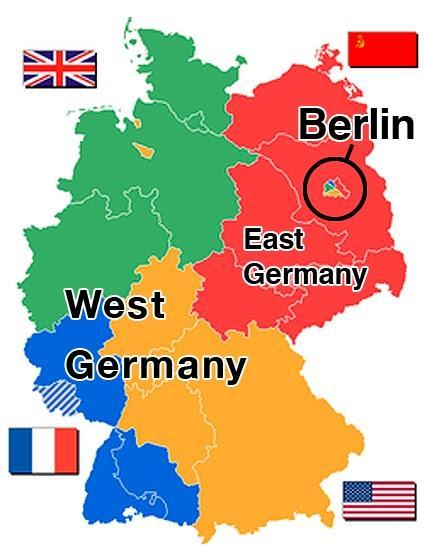 E. Struggle over Germany: 1. At Yalta, powers divided Germany into zones a. West Germany: 3 zones 1. America 2.