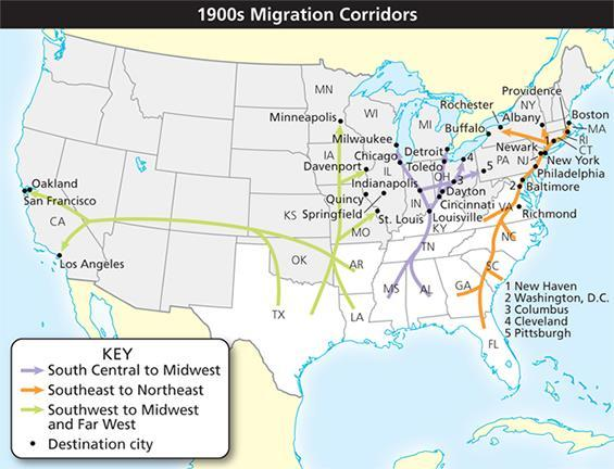 d. yellow fever 37. According to the map, in which migration corridor did populations move from urban to rural locations? a. South Central to Midwest b. Southeast to Northeast c.