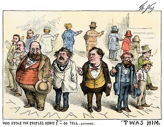 a. the illegal activities of Boss Tweed in New York City. b.