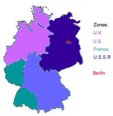 At the war s end, there were disputes about the futures of Germany and Poland. Germany was partitioned into four zones (one American, one French, one British, and one Soviet).