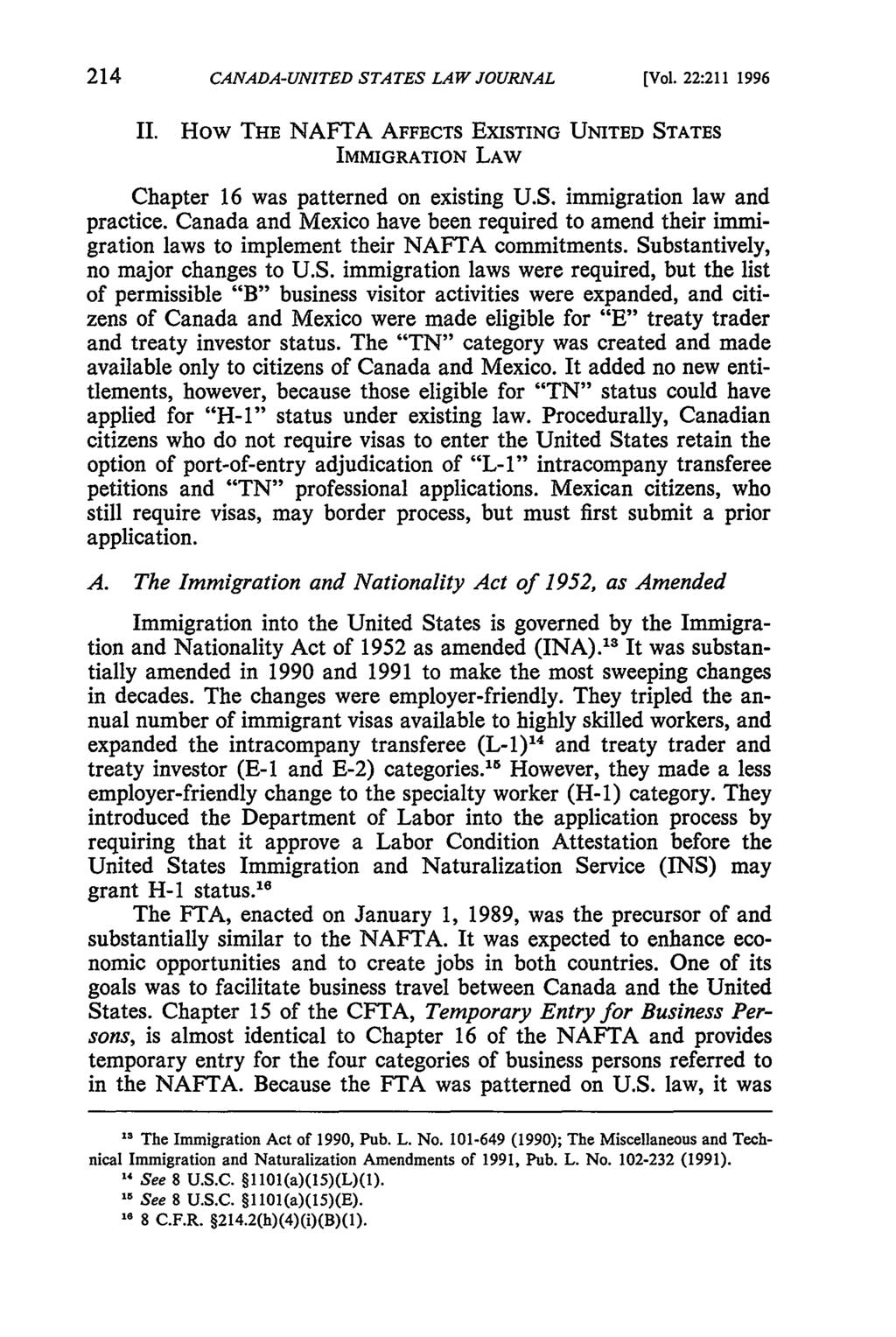 Canada-United States Law Journal, Vol. 22 [1996], Iss., Art. 30 CANADA-UNITED STATES LAW JOURNAL [Vol. 22:211 1996 II.