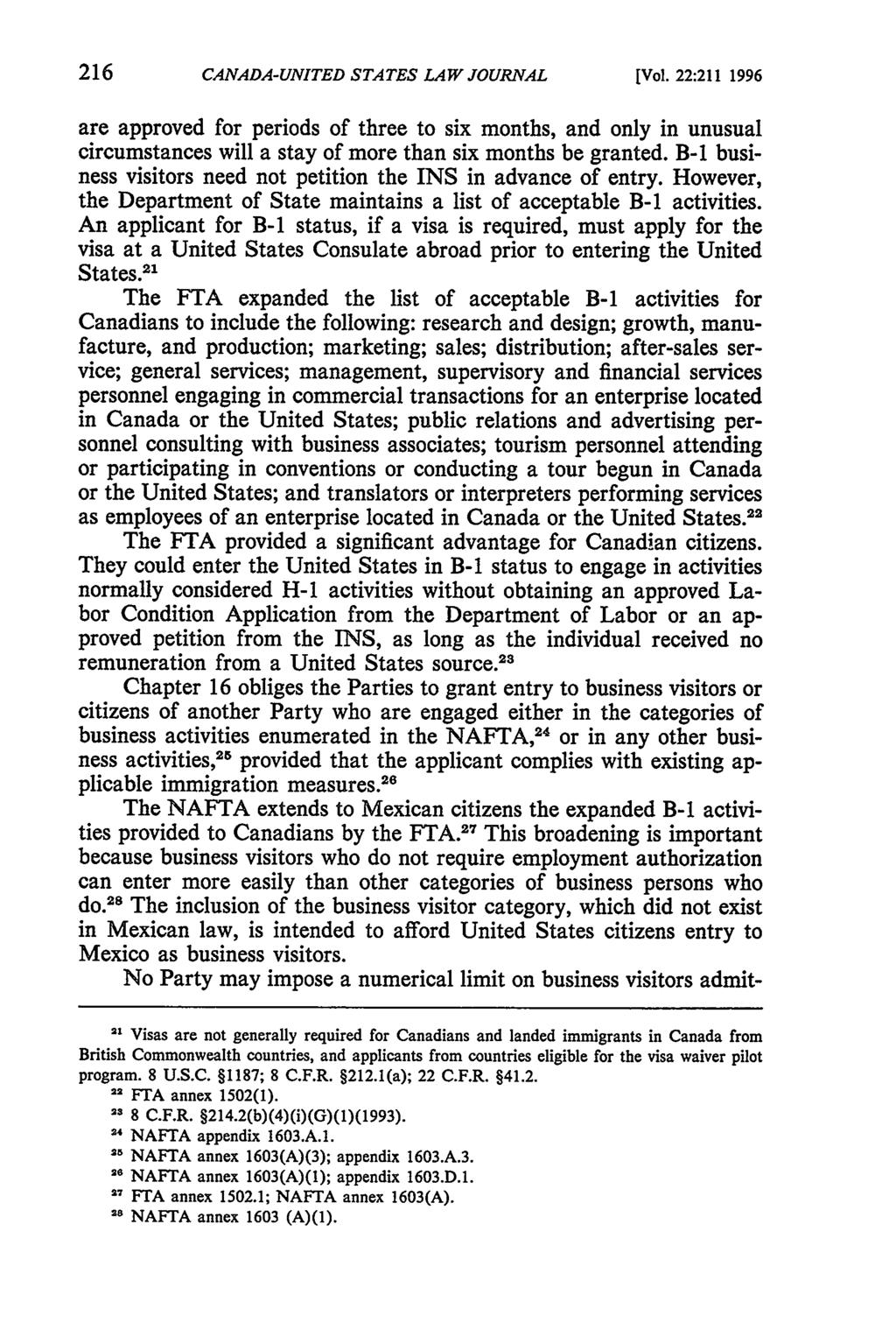 Canada-United States Law Journal, Vol. 22 [1996], Iss., Art. 30 CANADA-UNITED STATES LAW JOURNAL [Vol.