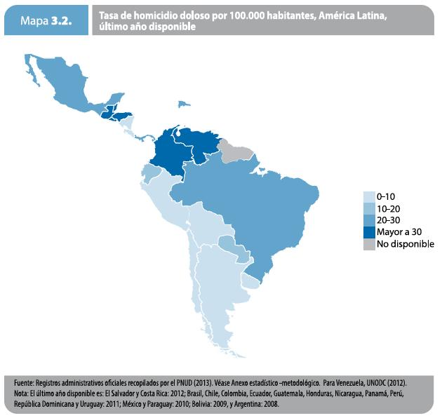 Regional Human Development Report 2013-2014 A common challenge with significant variations Homicide rate per 100,000 inhabitants, Latin America, last available year 11 countries with epidemic