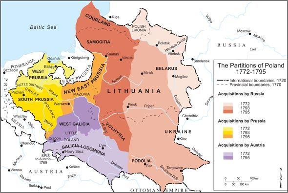 Partition of Poland Poland divided up by Russia, Austria, and Prussia three times 1772-1795