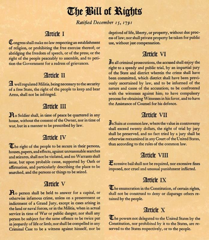 BILL OF RIGHTS Protects the rights of individuals Guarantees due process of the law DUE
