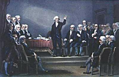 What does this painting show about the delegates at the convention?