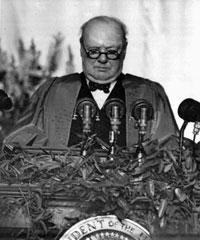 Cold War: Churchill s Iron Curtain Speech 1946 Churchill at Westminster College Fulton, Missouri (1946) From Stettin in the Baltic to Trieste in the Adriatic an