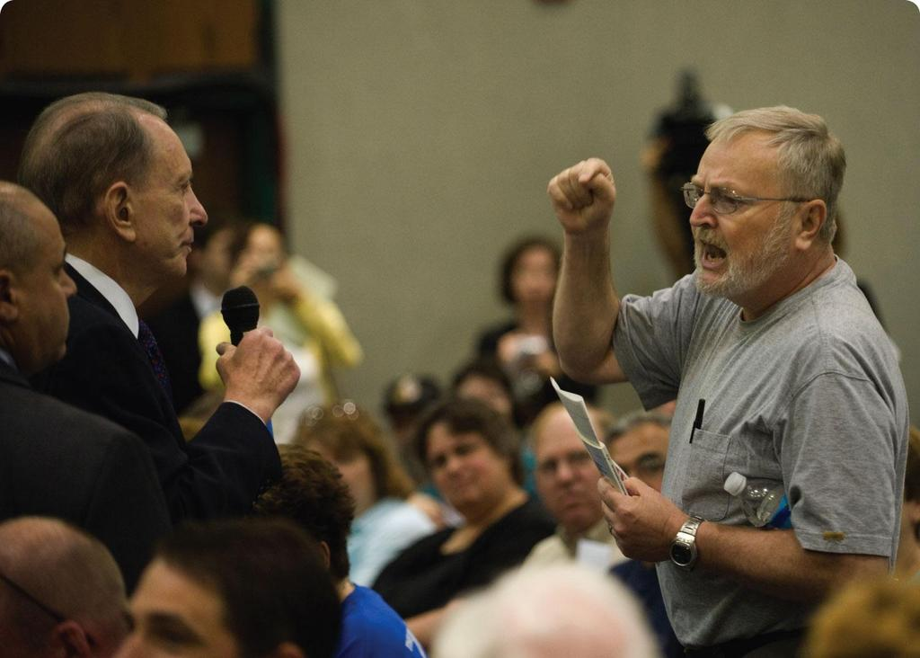 Constituents Strike Back During summer 2009 recess, members of Congress (Arlen Specter D-PA pictured here) traveled home to districts to attend angry constituents at town hall meetings about