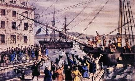 the Boston Tea Party (1773) (left), during which colonists