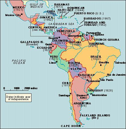 South America- 12 countries Central America & Mexico 13 countries
