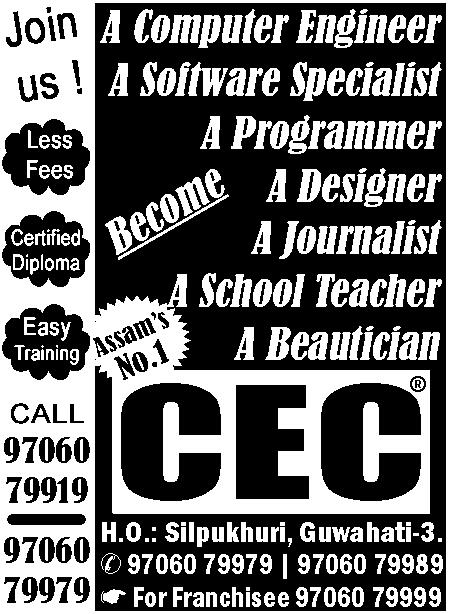 SV/P/A3886/1 Receptionist (Female) Required for an Educational Institute at Zoo Road, Guwahati. Ph: 8876934862.