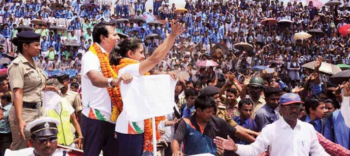 Thousands of people gathered at the Swami Vivekananda stadium waving the tricolour and burst crackers to cheer Dipa, the first Indian woman gymnast to compete in Olympics and the first to do so in 52