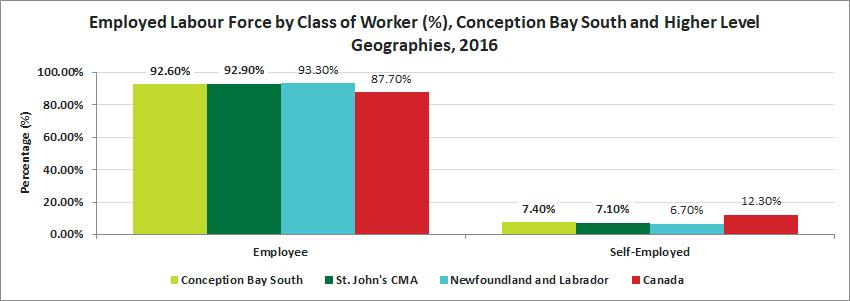 Conception Bay South had the second highest percentage of self-employed individuals when comparing to St.