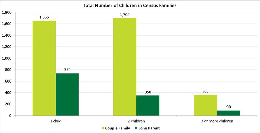 Release 5 Families, Household and Marital Status Total Number of Children in Census Families Quick Facts Families in Conception Bay South are largely comprised of couple families with one or two