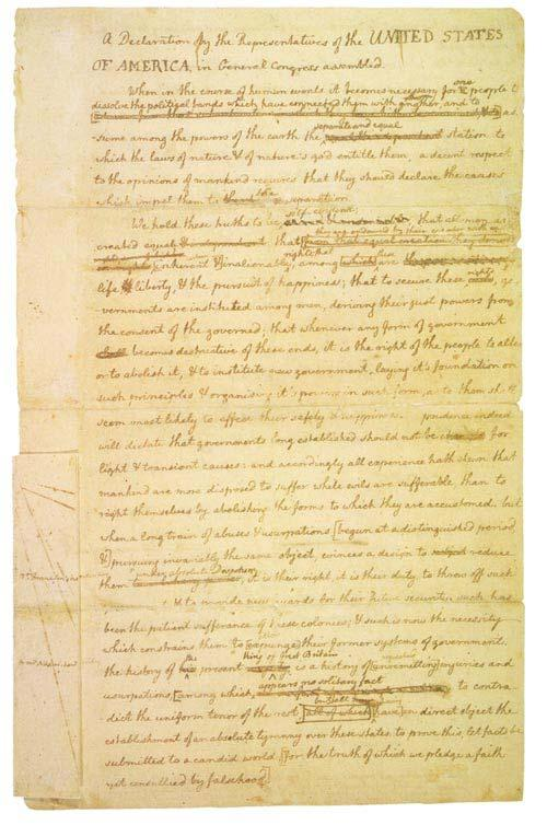 Jefferson s rough draft of the Declaration June 12-27 Jefferson, at the request of the committee, drafts a declaration, of which only a fragment exists.