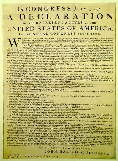 "July 4, 1776 Philadelphia printer, John Dunlap prints the Declaration of Independence. These prints are now called ""Dunlap Broadsides."