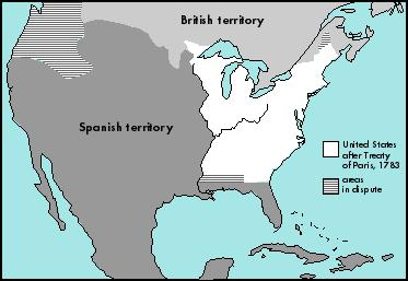 The Treaty of Paris in 1783 gave the newly formed United States