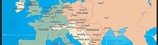The iron curtain fell across Europe separating