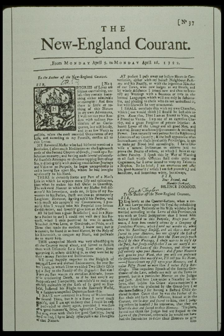 Newspaper history 1721: New England Courant Published by James Franklin, Ben s older brother First paper