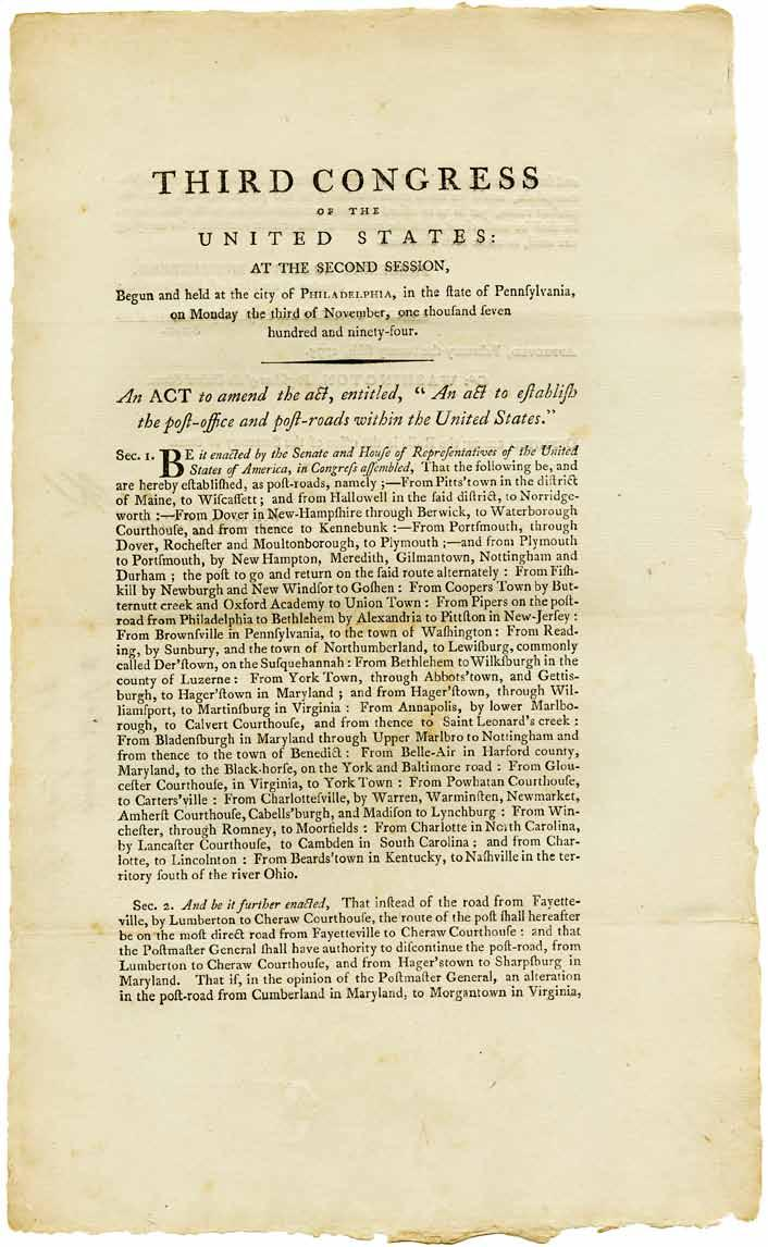 Approved, February the twenty fifth, 1795, and signed in print by Speaker of the House Augustus Muhlenberg, President of the Senate Pro Tempore Henry Tazewell, and President George Washington.