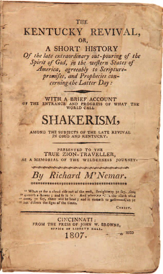 AMERICA...WITH A BRIEF ACCOUNT OF THE ENTRANCE AND PROGRESS OF WHAT THE WORLD CALL SHAKERISM, AMONG THE SUBJECTS OF THE LATE REVIVAL IN OHIO AND KENTUCKY... Cincinnati: From the press of John W.