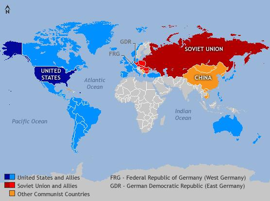 Cold War (1945-1991) diplomatic confrontation, without battles, between