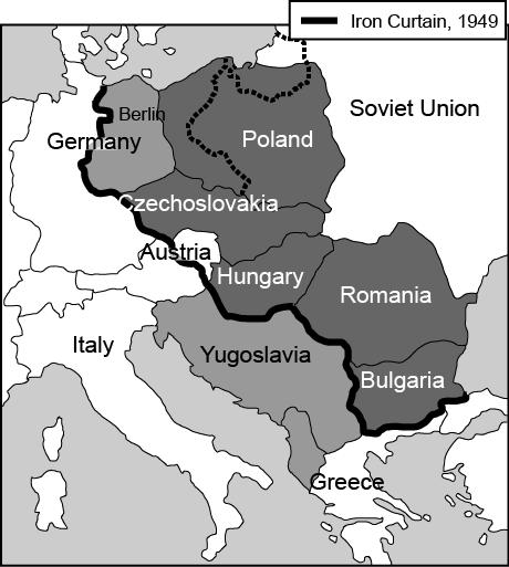 Sample Questions for Topic 8: 9. Review the map below. Which of the following BEST summarizes the concept displayed in the map? A. The Soviet Union received most of Eastern Europe after World War II.