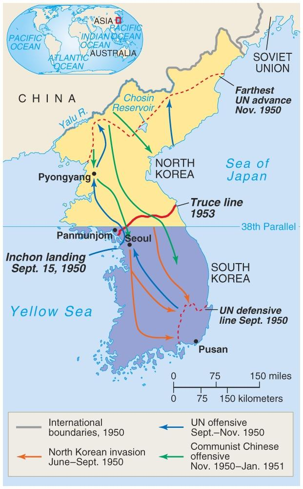 Korean War, 1950-1953 North Korea invades South Korea US Intervenes MacArthur pushes NK back past 38th Attempting to unite Korea as one Communist Nation As they saw North Korean aggression as a test