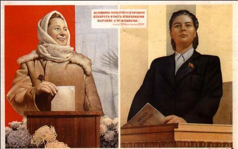 Individual Rights Stalin declared men & women equal in the USSR; Women s rights increased as women could vote & join the Communist Party Women were expected to work in factories and