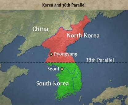 The Korean War After WWII, the Korean peninsula was divided at the 38 th parallel.