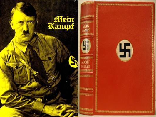 Mein Kampf Book written by Hitler while in jail Mein Kampf = My Struggle Outlined Hitler s plans for Germany Blamed the Jews & Communists for Germany s defeat in