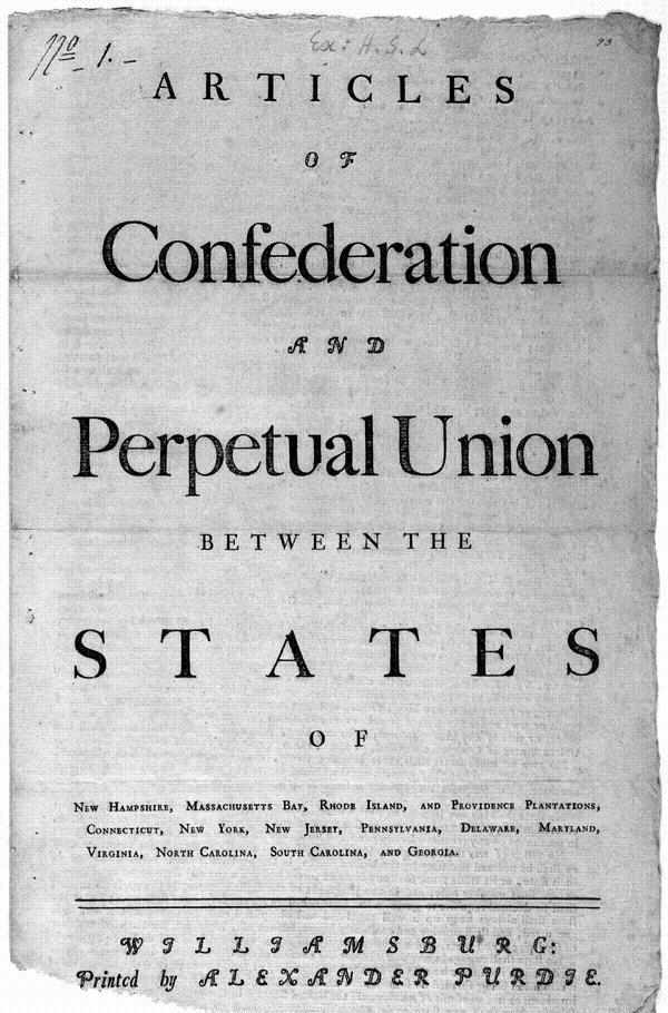 The Articles of Confederation Approved by Congress on November 15, 1777, Congress sent to the states for ratification the Articles of Confederation.