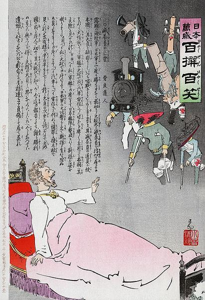 A Japanese woodcut print shows the Russian tsar waking up from a